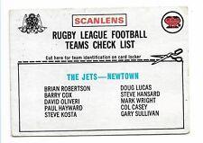 1976 NEWTOWN JETS SCANLENS CARD CHECKLIST