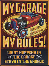 My Garage My Rules, Retro metal Aluminium Sign vintage Cars Garage funny