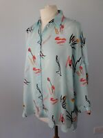 M&S Size 10 Blue Pink Floral Floaty Blouse Shirt Top Summer Lightweight Artist