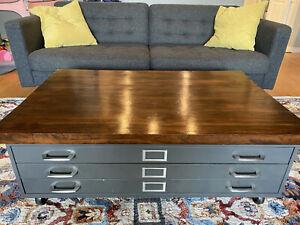 Blueprint cabinet coffee table Handmade Top Industrial 3 Drawers Steel Vintage