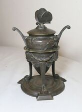 antique 1800's ornate French bronze urn style butterfly figural pen inkwell jar