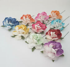 New 25 Mulberry Paper Flowers Wedding Favour Headpiece Scrapbook Cards R40-427H