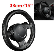 """Black PU Leather Car Truck Steering Wheel Cover 38cm/15"""" Texture Braiding Style"""