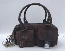 Brown 100% Genuine Suede Leather Small FASHION ESSENTIALS Handbag