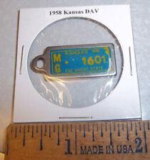 1958 Kansas #1601 DAV Mini License Plate keychain Disabled American Vet