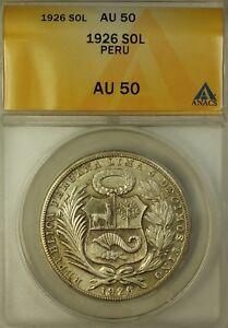 1926 Peru Un Sol Silver Coin ANACS AU-50