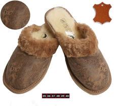Damen Warme Lammfell Schafwolle Fell Hausschuhe Pantoletten Pantoffeln Leder