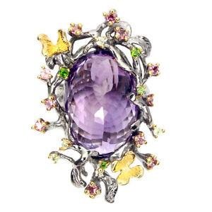 Handmade Oval Amethyst 29ct Rhodolite Sapphire Gems 925 Sterling Silver Ring 8