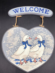 Vintage Blue Bow Ribbon Geese Goose Decor Plaque Wall Hanging Welcome Sign