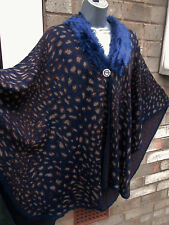 Ladies women brown navy fur poncho cape wrap top jumper cardigan collar one size