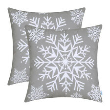 Pack of 2 Throw Pillows Cases Covers Couch Bed Sofa Christmas Snowflakes 45x45cm