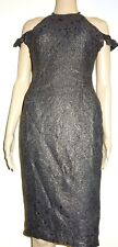 AX Paris Women's Gold Capped Sleeve Embroidery Bodycon Dress UK Size 10 Vr57 03