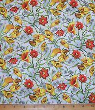 Fantasia Trumpet Flowers 100% Cotton Fabric By Yards Paintbrush Studio
