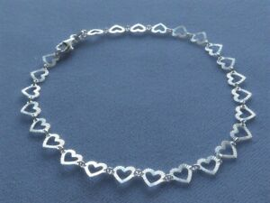 """NEW 10"""" ITALIAN STERLING SILVER ANKLE BRACELET  FACETED HEART LINK ITALY 925"""
