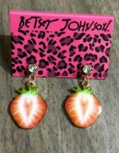Betsy Johnson Enamel Strawberry Dangling on Crystal Stud Earrings New Beauties!