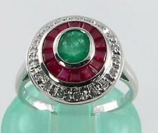 LARGE 9CT WHITE GOLD COLOMBIAN  EMERALD  INDIAN RUBY DIAMOND ART DECO INS RING