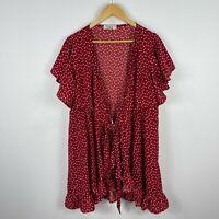 St Frock Womens Dress 14 Red Hearts Flutter Short Sleeve V-Neck Front Tie
