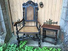English 17th Century Carved Beech William & Mary Caned Elbow Armchair Flemish