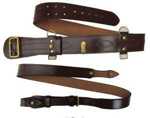 Sam Brown Belt Shoulder Strap Brass buckle Brown Leather