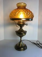 Vintage Brass Converted Oil Lamp With Aladin Quilted Diamond Glass Shade
