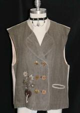 BROWN ~ LINEN German Women EMBROIDERED Dress Hunting Shooting Coat VEST 40 10 M