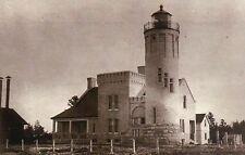 Old Mackinac Point Lighthouse Mackinaw City Michigan, Lake Huron & MI - Postcard