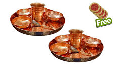 AsiaCraft Set Of 2 Pure Copper Dinner Set Thali Plate With Bowl, Glass & Spoon