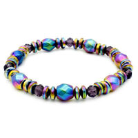Electroplated Magnetic Hematite Pain Relief Energy Powerful Stretch Bracelet