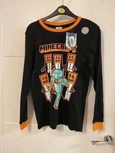 George Bnwt Black Long Sleeved Minecraft Pyjama Top Size 12-13 Years