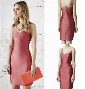 REISS 6 MARION ANTIQUE ROSE PENCIL STRAIGHT Pink LACE INSERT DRESS Size 6 eu 34