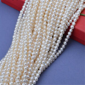 1pcs 3-4MM Natural Freshwater rice pearl Loose bead 15.5 inches Self-confidence