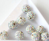 10X CZ Crystal Rhinestones Pave Clay Disco Ball Round Spacer Beads Findings 10MM