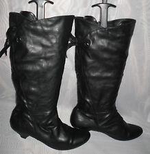 WOMENS E-VIE Black Pull On Synthetic Mid Heel Mid Calf Boots Size:3/36(WB399)