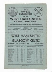 1949/50 WEST HAM UNITED v GLASGOW CELTIC (Friendly) Monday Afternoon PM Kick Off