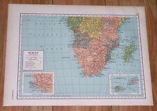 1943 ORIGINAL VINTAGE WWII MAP OF SOUTHERN / NORTHERN AFRICA SOUTH TANGANYIKA