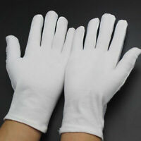 1Pairs White Inspection Cotton Work Gloves Coin Jewelry Lightweight Size Large*