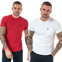 Mens Timberland Dunstan River Pocket Slim Fit Crew Neck T-Shirt in Red and White