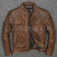 Vintage Distressed Brown Men Genuine Biker's Cow-Hide Leather Jacket
