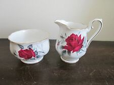 Royal Albert England Sweet Romance Demitasse Sugar Bowl And Creamer Red Roses