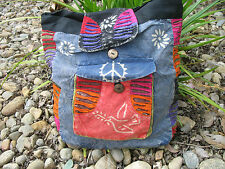 Peace Dove Patchwork Hippie BoHo Vintage Bohemian Tribal Drawstring Backpack Bag