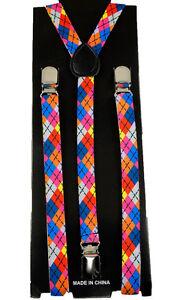 Unisex Clip-on Braces Elastic Suspender Slim Rainbow