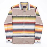 HUF Yellow American Long Sleeve Striped Shirt Mens L