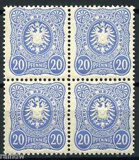 Dt. Reich 20 PFENNIG 1880** lebhaftkobalt Viererblock Attest (S7717)