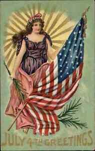 4th Fourth of July Lady Libery American Flag Sun Rays c1910 Postcard
