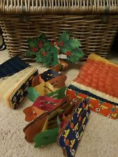 4 X Rare 1950s Vintage Father Christmas Honeycomb Decoration Paper Tissue Holly