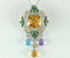 14K Solid White Gold Round Diamond Multi Stone Briolette Pendant 18'' Necklace