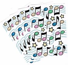 4 sheets Colorful MUSIC NOTES Stars Scrapbook Stickers!