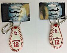 LOT OF 2 GAMEWEAR MLB GENUINE BASEBALL LEATHER SL BERKMAN 12 SEAM KEY CHAIN NEW