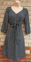H&M MAMA MATERNITY BLACK WHITE SPOTTED 3/4 SLEEVE BELTED A LINE TEA DRESS 8 10 S