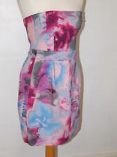 SIZE  12 STRAPLESS 'PAINTING IN OILS' SUMMER HOLS PARTY MINI DRESS SEXY   VGC